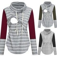 Для женщин блуза беременных Nusring для беременных, с длинным рукавом, топы, с соединением внакрой Блуза в полоску с принтом в виде совы для грудного вскармливания женские Повседневное Зимняя Блузка C50