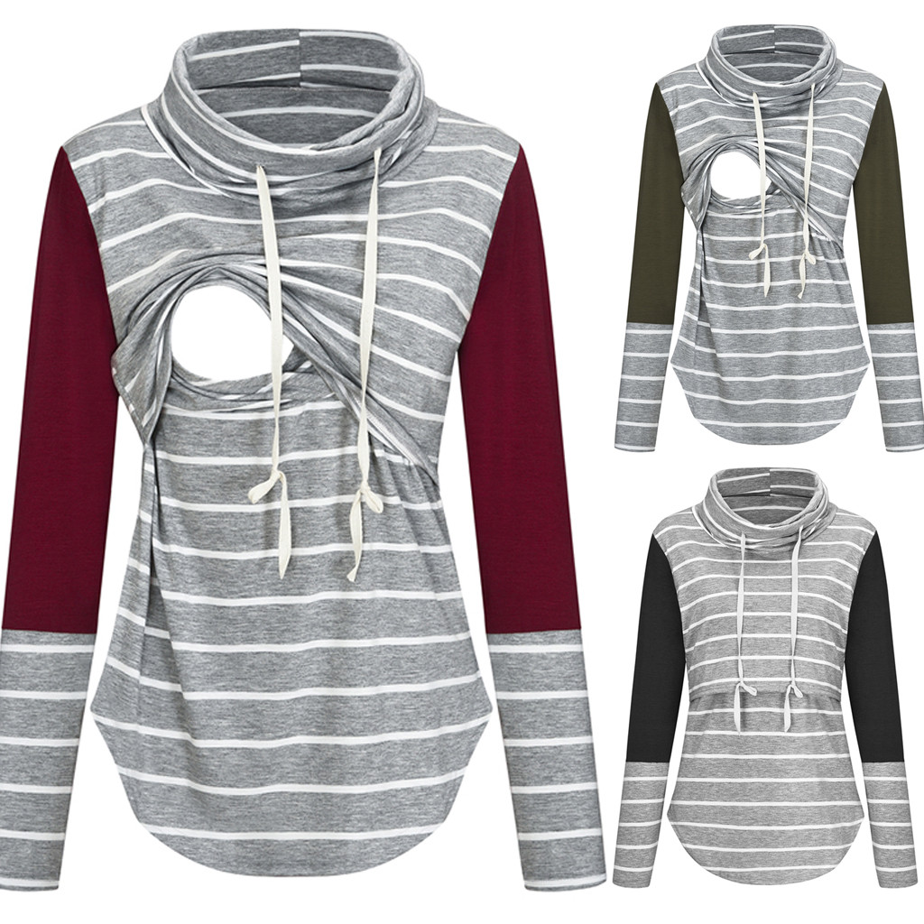 Women Blouse Pregnant Nusring Maternity Long Sleeve Tops Splicing Stripe Blouse Breastfeeding Ladies Casual Winter Blouse C50#