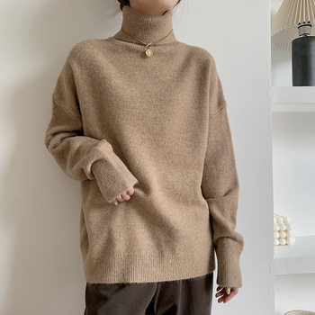 купить Vintage Women Turtleneck Sweater Oversize 2020 Autumn Winter Loose Korean Knitted High Collar Pullover Sweater for Women Jumper в интернет-магазине