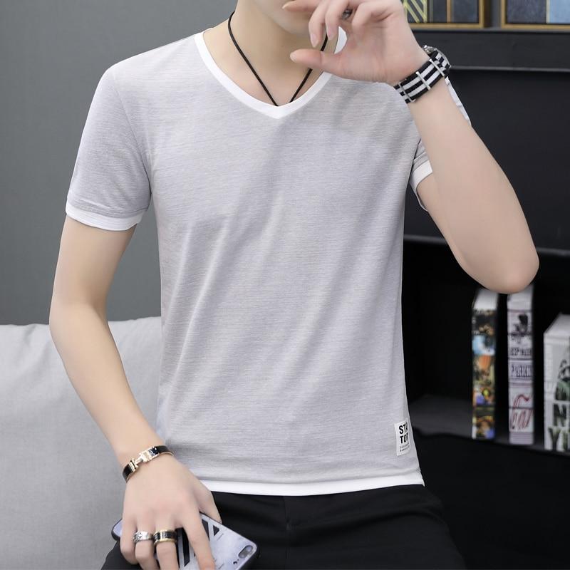 Image 3 - Летняя мужская футболка с коротким рукавом с v образным вырезом  han edition, половина рукава для фиксации тела, летняя мужская  одеждаФутболки