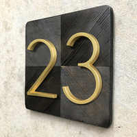 12cm Floating Modern House Number Golden Satin Brass  Door Home Address Numbers for House Outdoor Sign Plates 5 Inch. #0-9
