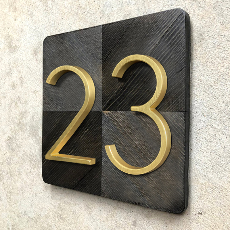 12cm Floating Modern House Number Golden Satin Brass Door Home Address Numbers for House Outdoor Sign Plates 5 Inch. #0-9(China)