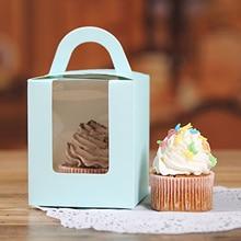 50 шт. коробка для кексов с окошком и ручкой, переноска для тортов, маленький подарочный контейнер для тортов для хлебобулочных, свадебных то...