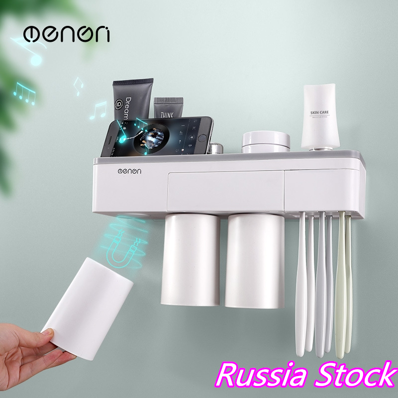 Automatic Toothpaste Dispenser Free Toothbrush Holder Stand Set Wall Mount Rack Bathroom Accessories Fast shipping from Russia image