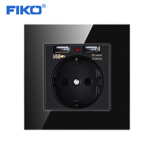 FIKO EU Standard розетка с usb 2A Wall Charger Outlet Socket Grounded 16A Power AC 110-250V Schuko F Plug French Type, 86*86mm 86 type british three hole wall socket power socket panel 13a ac 110 250v