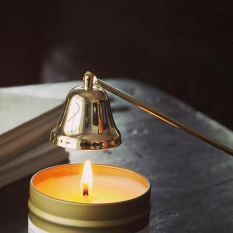 New Home Stainless Steel Smokeless Candle Wick Bell Snuffer Home Hand Put Off Tool Kit Candle Accessories Holders 4 Colors