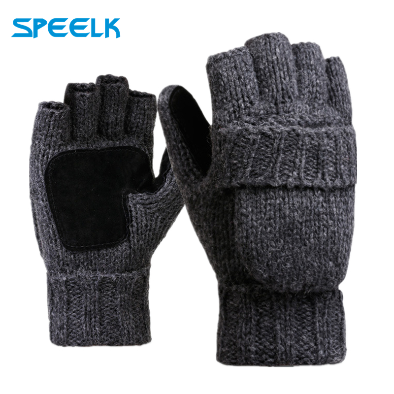 Brand New Woollen Knitted Gloves Half Finger Flip Men Women Winter Wool Glove Velvet Thick Leather Warm Outdoor Riding Gloves