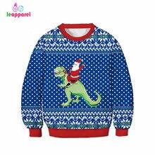 LEAPPAREL New Kids Christmas Santa Claus Dinosaur Print Sweatshirt Hoodie Fashion Party Costumes Fall-Winter Tops Clothing
