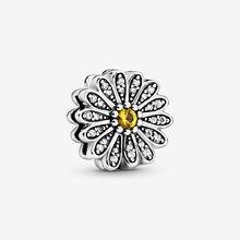 Модные бусины подвеска зажим в виде цветка маргаритки серебро