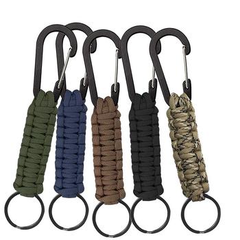 Tactical Paracord brelok z karabińczykiem wojskowy pleciony smycz narzędzie EDC narzędzie survivalowe do kluczy nóż odkryty sprzęt kempingowy tanie i dobre opinie Tactical rope Black blue Khaki camouflage For hiking pocket GT137