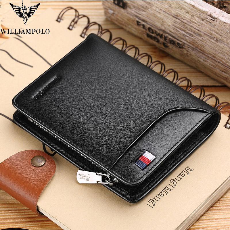 Luxury Men Genuine Leather Business Wallet with Zipper Closure Pocket Purse