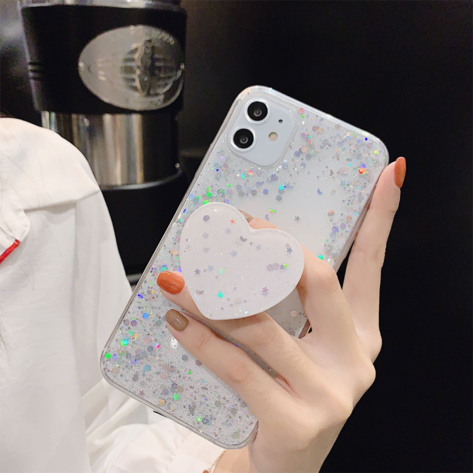 He24aaf93e68a4adba477e5412a9c8839F - Bling Glitter Phone Case For iphone 11 Case 11 pro max 6 6s 7 8 Plus X XR XS Max Star Sequin Cover Funda Stand Holder Coque