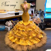 Muslim Yellow Beaded Evening Dresses Dubai 2021 Robe De Soiree Party Celebrity Dress Saudi Arabia Prom Gowns Custom Made Arabic