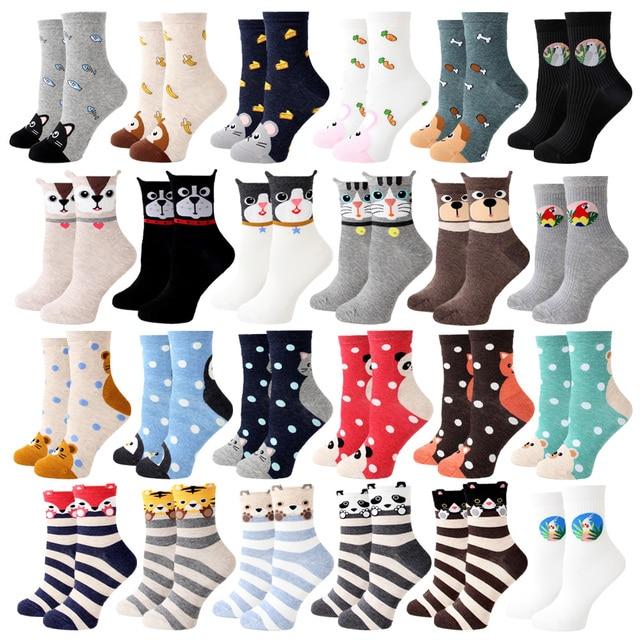 Vrouwen Sokken Nieuwe Grappige Leuke Cartoon Dier Kat Hond Papegaai Nieuwigheid Harajuku Kawaii Gelukkig Art Sokken Katoen Mode Harajuku Sokken