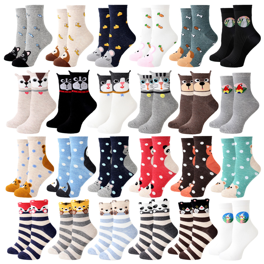 Women Socks New Funny Cute Cartoon Animal Cat Dog Parrot Novelty Harajuku Kawaii Happy Art Socks Cotton Fashion Harajuku Socks