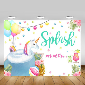 Splash on Over Unicorn Background for Photo Shoot Summer Swimming Pool Fruit Party Backdrop Children Flowers Birthday Balloons - discount item  46% OFF Camera & Photo
