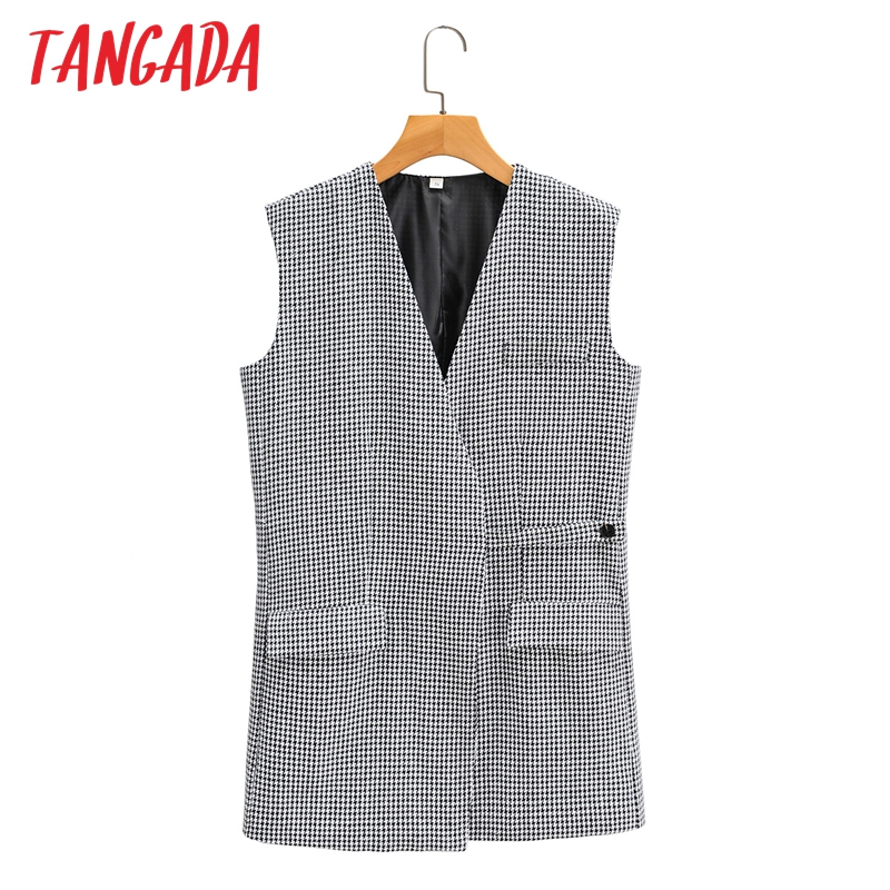 Tangada-Chaleco de Tweed con estampado a cuadros para mujer, abrigo sin mangas con cuello de pico, Tops de gran tamaño a la moda, SY21, 2020
