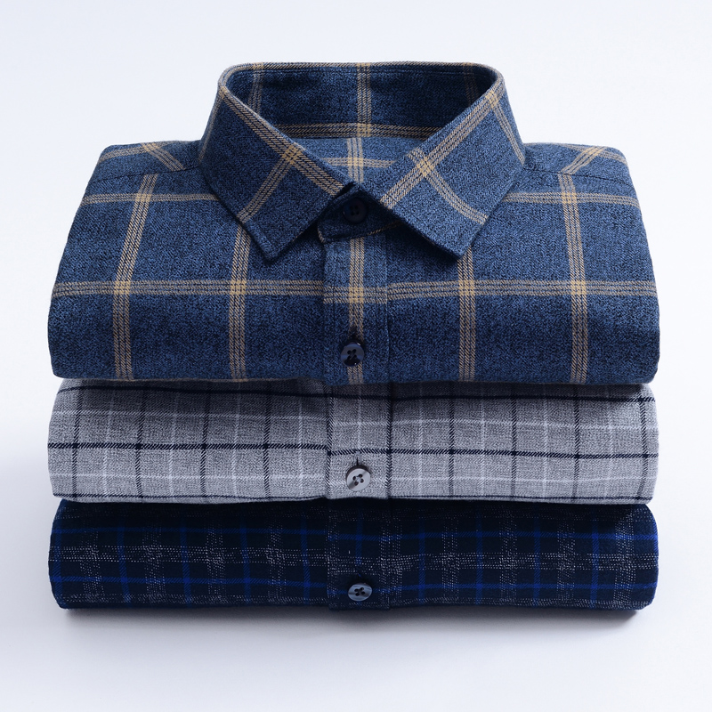 Classic Checked Plaid  Pure Cotton Men's  Casual Shirts  Sanded Thick  Business  Regular Fit Long Sleeved Narrow Square Collar