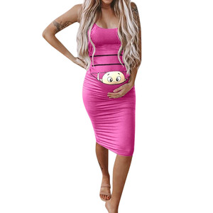 Maternity Dresses Women's Fashion Cute Baby Printed Pregnant Summer Sleeveless Pregnancy Dress Mother Robe Grossesse Embarazada