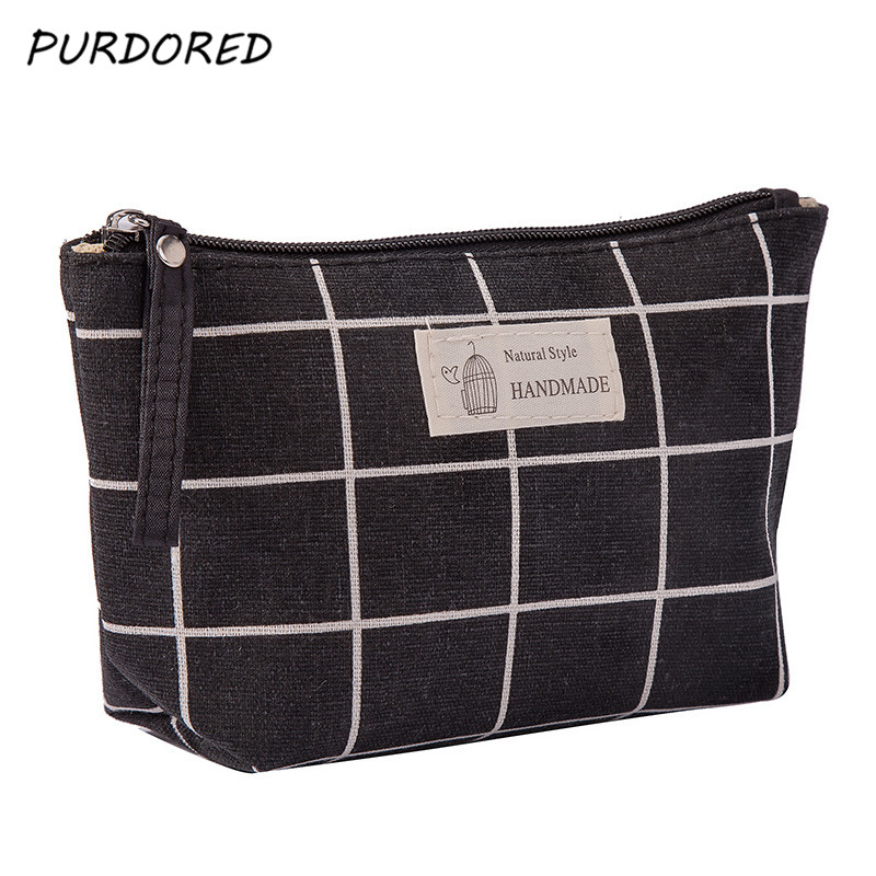 PURDORED 1 Pc Women Plaid Travel Cosmetic Bag Makeup Bag Flower Cosmetics Make Up Bags Travel Beauty Organizer Dropshipping