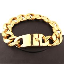 18MM Cool 316L Stainless Steel Gold Tone Cuban Curb Link Chain Mens Bracelet Bangle Biker Jewelry High Quality Hot