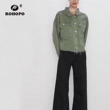 ROHOPO Frayed Hem Top Pockets Army Green Cotton Straight Denim Jacket #9456 frayed hem denim shorts