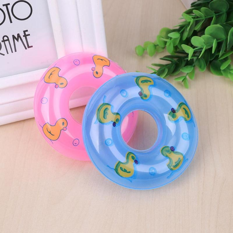Mini Inflatable Lifebuoyant Buoy Play House Toy Swimming Safety Float Yellow Duck Print For Barbie Doll Accessories Gifts