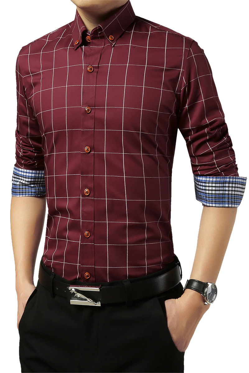 2020  5XL Plaid Printed Long Sleeve Formal Men Shirt Turn-down Collar Male Business Dress Fashion Patchwork Shirts Tops