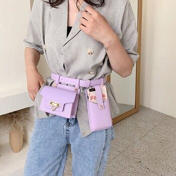 2PCS Women Waist Bag Luxury Designer Belt Bag Female High Quality Leather Flap Fanny Pack Shoulder Crossbody Chest Bag Hip Purse