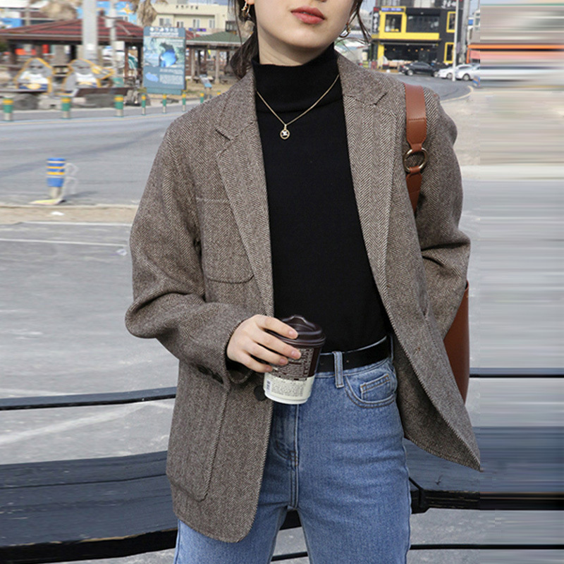PEONFLY Vintage Single Breasted Women Blazer Korean Style Casual Long Sleeve Jacket Coat Formal Retro Office Work Outerwear