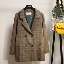 XL-5XL Plus size Autumn Plaid Women Blazer Vintage Houndstooth Jackets Double Breasted Suits Coat Large Size Blazers Outerwears