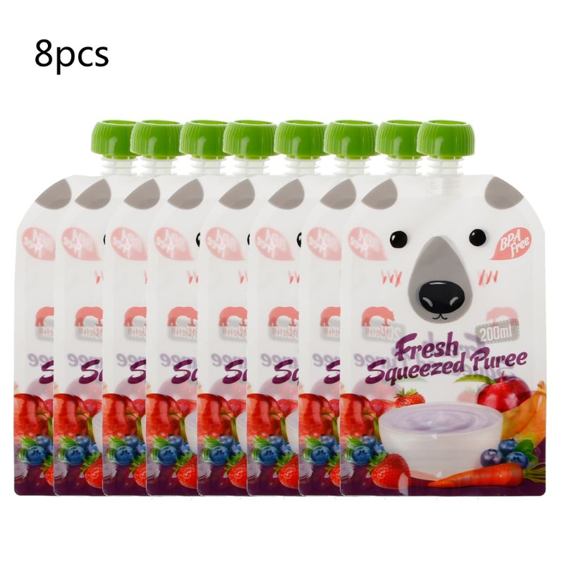 8PCS High Quality Resealable Fresh Squeezed Pouches Practical Baby Weaning Food Puree Reusable Squeeze For Newborn