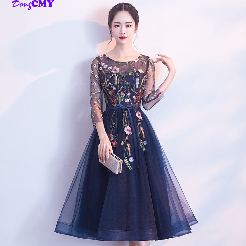 DongCMY 2020 New Arrival Short Flower Prom Dresses Navy Blue Color Vestidos Party Dress