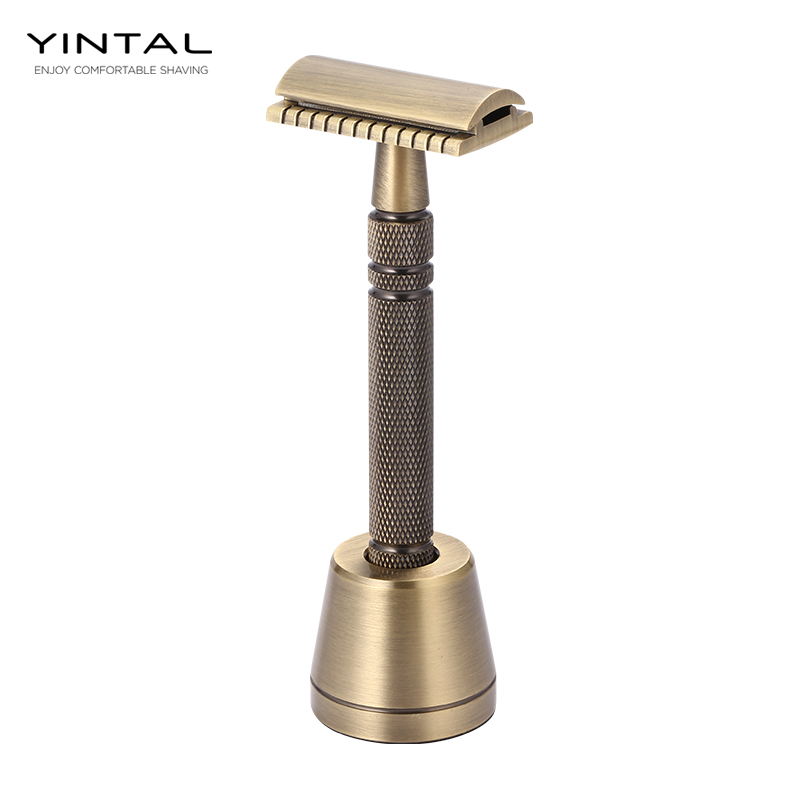 YINTAL Men's Bronze Classic Double-sided Manual Razor Long Handle Safety Razors 1 Razor 1 Base Shaver Set Waterproof No Rust