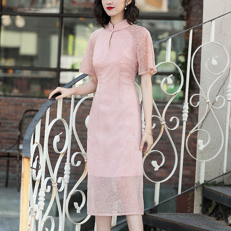 [Agent Main Push Have Preferential Price] 2019 Spring New Style WOMEN'S Dress Chinese-style Stand Collar Cheongsam Dress 90120