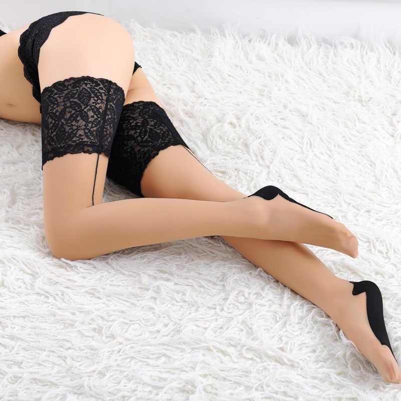 Mais tamanho de renda sexy meias sobre o joelho coxa alta meias fique acima silicone meias de seda náilon meias femininas medias de mujer