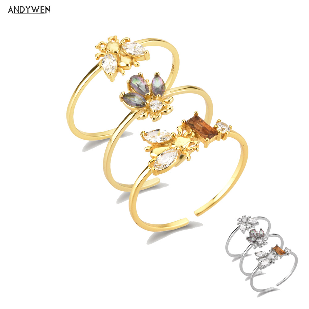 ANDYWEN 925 argent Sterling abeilles anneau réglable femmes mince bagues bijoux lumière animale bijoux pour bijoux de fête de mariage
