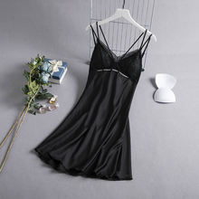 Women sexy suspenders v neck nightgown new lace beauty back