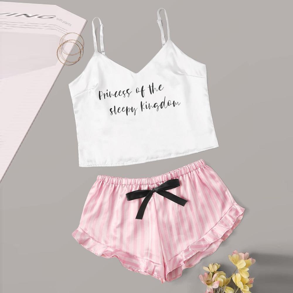 New Women's Sleepwear Sexy Satin Silk Letter Pajama Set V-Neck Pyjamas Sleeveless Cute Cami Top Short Pijama Mujer Free Shipping