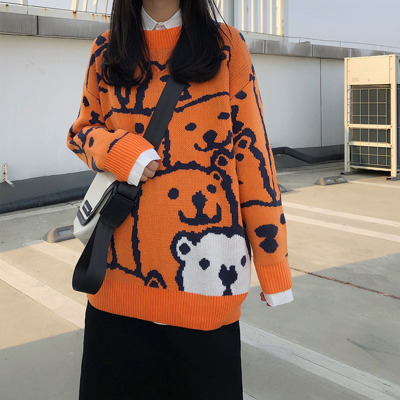 2019 Winter Korean Style Cartoon Bear Thick Knitted Warm Sweaters Womens Sweaters And Pullovers (X1200)