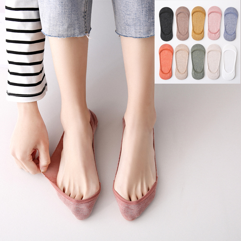 Shallow Mouth Socks Female Spring Summer Cotton Comfortable Boat Socks Low Help Ankle Low Socks Silicone Non-slip Invisible Sock