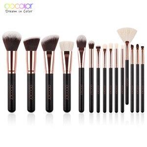 Image 2 - Docolor 15PCS Makeup Brushes Set Foundation Powder Eyeshadow Brush Goat Bristle Synthetic Hair Cosmetic Make up Brush With Bag
