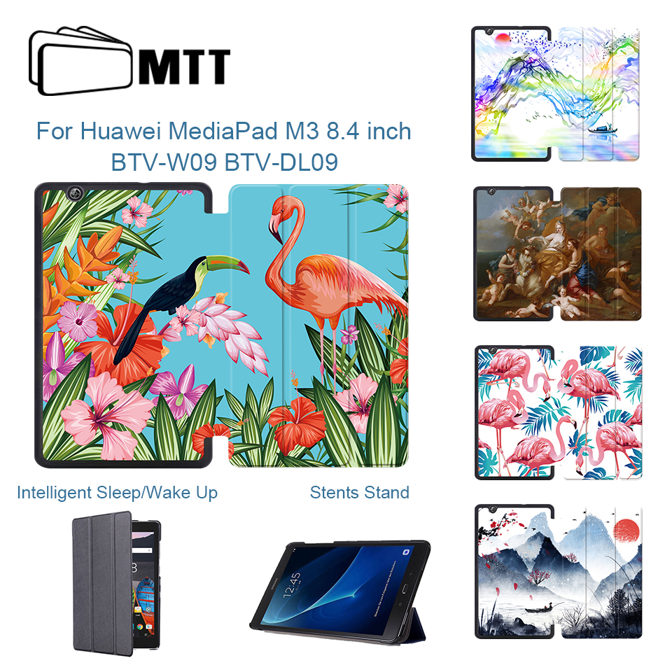 MTT Flamingo Cover Case for Huawei MediaPad M3 BTV-W09 BTV-DL09 8.4 inch Tablet 2016 Flip Slim PU Leather Stand Smart Case Funda image