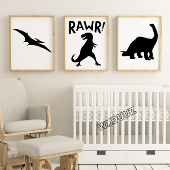 Nordic style children room decoration abstract cartoon dinosaur animal wall art living room poster canvas painting M88 image