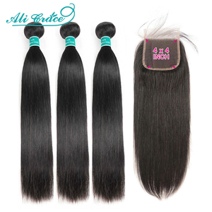 Ali Grace Hair Brazilian Straight Hair 4x4 Closure With Bundles Human Hair 100% Remy Straight Bundles with Closure Middle Part(China)