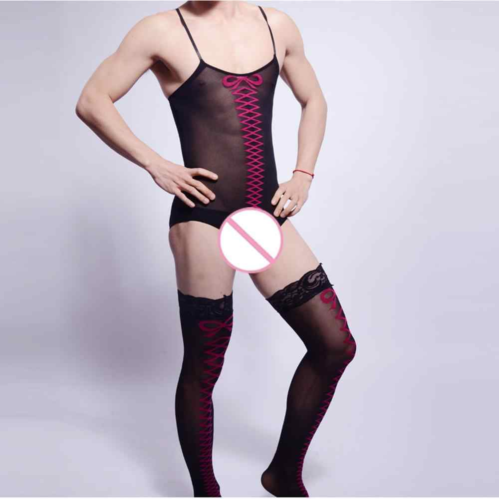 Sex SM Game Funny Cosplay Party Hot Sexy Men Gay Silk Stockings Shoulder Sling Transparent Thin Stocking Tube BodyStocking Adult