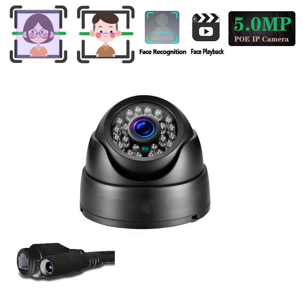 H.265 POE IP 5MP Camera IR-CUT Indoor Dome Room Street Filter Onvif POE 48V Human Motion Face Detection&Playback Email Alarm