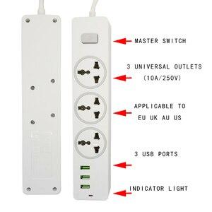Image 2 - שולחן עבודה אוניברסלי שקע כוח רצועת האיחוד האירופי Plug 2M הארכת כבל בית משרד 3 AC לשקע 3 יציאת USB מטען מחוון אור בעל