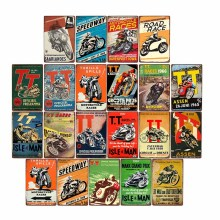 Retro TT Isla de Man carteles de metal Vintage motos cartel de carreras de placa con inscripción para Bar garaje Arte de la pared Decoración 20x30cm