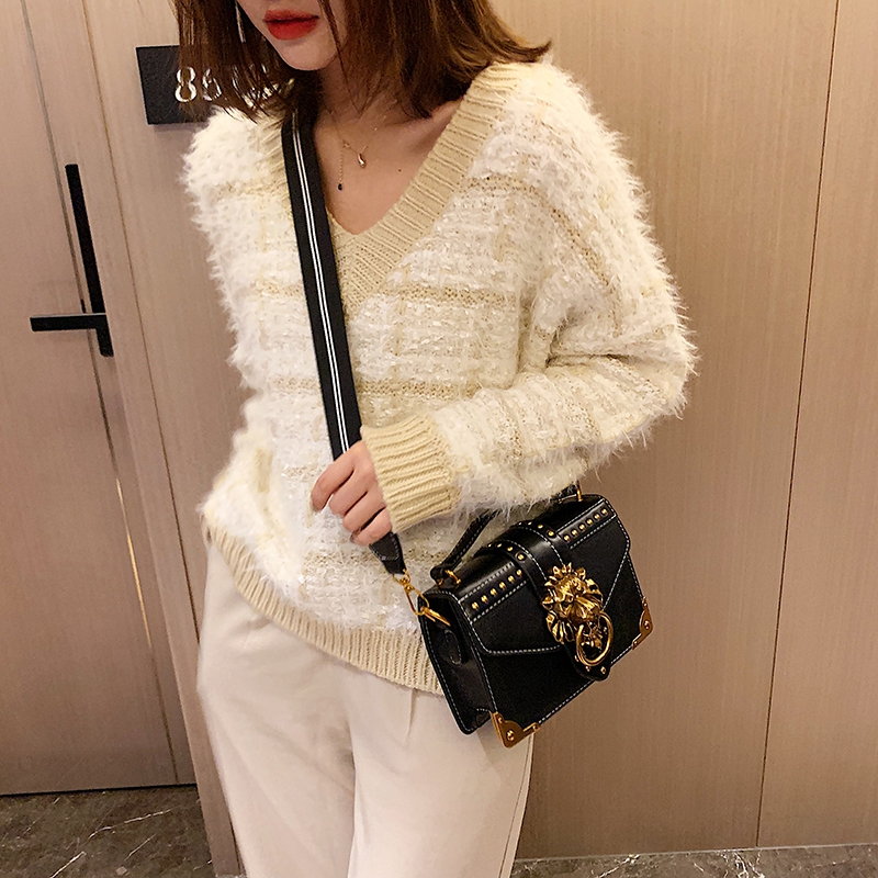 He24cc02518094eeba188d640ad6808aeD - Female Fashion Handbags Popular Girls Crossbody Bags Totes Woman Metal Lion Head  Shoulder Purse Mini Square Messenger Bag